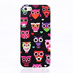 KolorFish iFunky Designer Printed Thin Silicone Back Case Cover for Apple iPhone 5, iPhone 5S, iPhone SE (Black Owl)