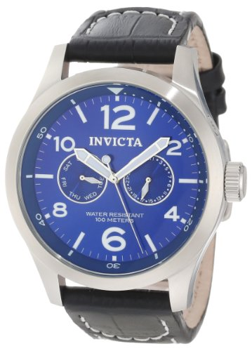Invicta Men's 10490 Specialty Military SS Blue Dial Black Leather Watch