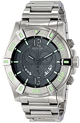 Invicta Mens 13924 Luminary Chronograph Display Quartz Stainless Steel Tritium Swiss ISA Black Dial Watch