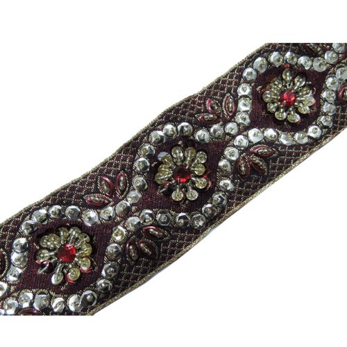 1 Yd Maroon Gold Beaded Ribbon Trim Sewing Craft Lace