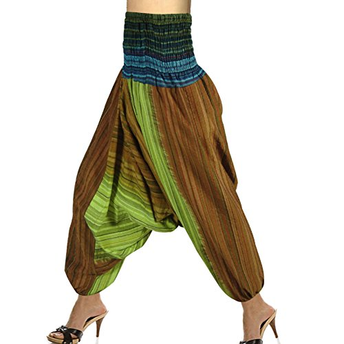 Tie Dye Striped Pattern Smocked Elastic Waist Indian Harem Cotton Pant front-682412
