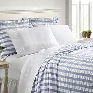 Orvis Summer Stripe Seersucker Bedspread / Only Twin, Blue Stripe, Twin