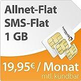 DeutschlandSIM Flat L 1000 [SIM, Micro-SIM und Nano-SIM] monatlich kündbar (1 GB Daten-Flat mit max. 14,4 MBit/s, Telefonie-Flat, SMS-Flat, 19,95 Euro/Monat) O2-Netz
