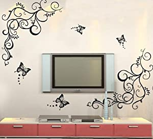 Butterfly Feifei Wisteria Flowers Vine Art Vinyl Wall Decal Stickers Home Decor by Other