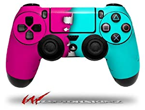 Ripped Colors Hot Pink Neon Teal - Decal Style Wrap Skin fits Sony PS4 Dualshock 4 Controller - CONTROLLER NOT INCLUDED