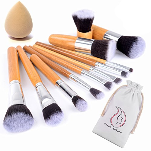 start-makers-pennelli-make-up-in-bambu-12-pennelli-naturali-per-il-trucco-set-di-pennelli-vegan-per-