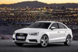 "Audi A3 Sedan (2014) Car Art Poster Print on 10 mil Archival Paper White Front Side Night View 20""x15"""