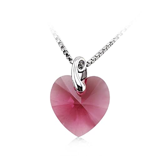 Valentine's Day Gifts Swarovski Crystal Elements Heart Necklace 18 - October Birthstone Pink