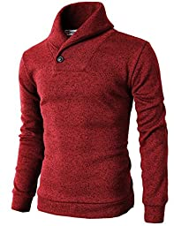 H2H Mens Knited Slim Fit Pullover Sweater Shawl Collar With One Button Point RED US S/Asia M (KMOSWL036)