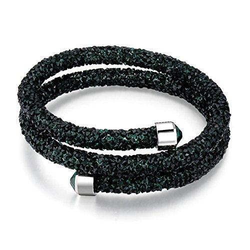 Btime Classic Design Double Layer Bright light Fashion Bangle For Women (Green)