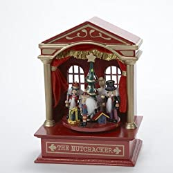 "7.5"" Nutcracker Suite Animated Red Wooden Christmas Music Box"