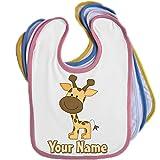 Cartoon Giraffe Personalised Baby Bib Blue Pink Yellow or White