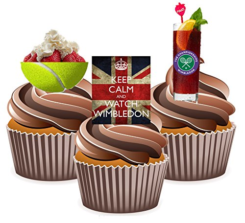 Keep Calm and Watch Wimbledon Essbar Stand-up Cup Cake Topper (Pack von 12)