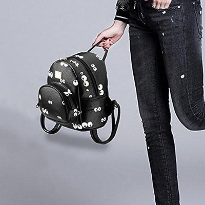 YJ.GWL Women Girls Ladies Backpack Fashion Shoulder Bag Rucksack PU Leather Printed Travel Bag (Black )
