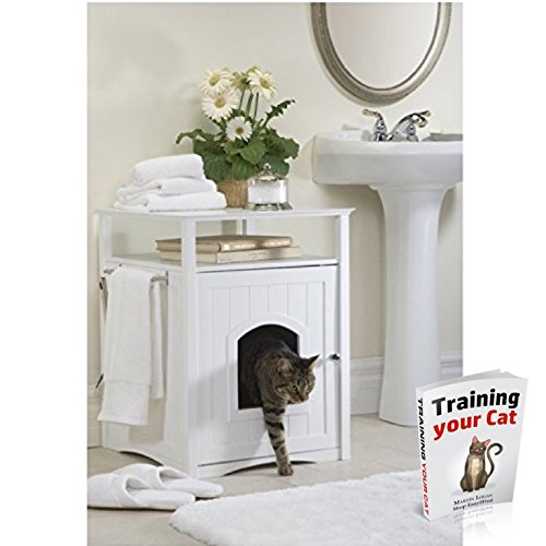 Pet Washroom Litter Box House Bed Nightstand Table Hidden Dog Cat Furniture White & eBook by Easy2Find