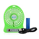 efluky 3 Speeds Portable mini Fan 18650 Rechargeable Battery or Electric-Powered with LED Light Table Fan Via USB Port to Laptop Computer External Battery packs and to Adapter for Wall charger Cooling Fan for Home and Office Indoor and Outdoor Activities As Camping Hiking Cycling Backpacking Climbing Boating Travel Picnic (Green)