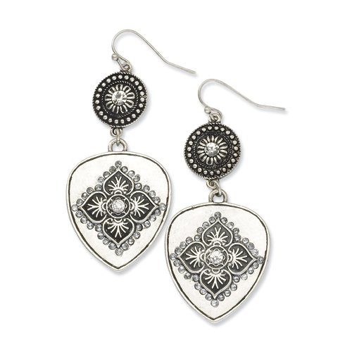 1928 Boutique Silver-tone Clear Crystal Floral Motif Dangle Earrings