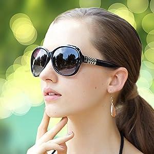 JapaNice UV400 紫外線 99% UV カット レディース サングラス ドライブ UV 対策 に ケース +メガネ拭き BC551 (ブラック)