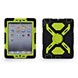 51gNv5mzdmL. SL160  IPad Mini 1 & 2 Silicone Plastic Kid Proof Extreme Duty Dual Protective Back Cover Case with Kickstand and Sticker for Apple iPad Mini & iPad Mini with Retina Display   Rainproof Sandproof Dust proof Shockproof£¨Black/Green£©