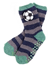 Football Studded Cosy Slipper Socks