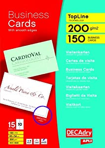 DECAdry TopLine Business Cards Straight White Ref