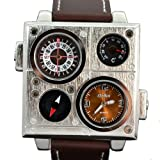 Oulm Brown Military Army Men Boy Sport Leather Dual Time Zone Wrist Watch Quartz Movt