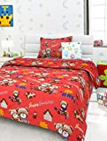 Story@Home Happy Birthday Cartoon Print Single Bedsheet with 1 Pillow Cover