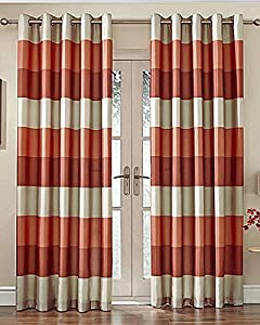 "Brazil Orange Beige Striped Faux Silk Lined Ring Top 66"" X 72"" Curtains #oir from PCJ SUPPLIES"