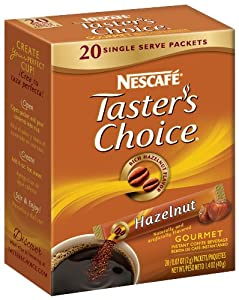 Nescafe Tasters Choice Hazelnut Instant Coffee, 20-Count Single Serve Sticks (Pack of 8)