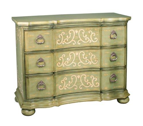 Sterling Industries 88-3178 Argent Scroll Chest, Light Green Finish