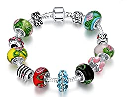 Julia Treasures ® PANDORA BRACELET style with 5 PANDORA MURANO GLASS CHARMS style Jewelry Silver Plated Snake Chain For Women, with 5 FREE BEADS CHARMS, 8.3 inches !!! LEAD FREE MATERIALS !!!!