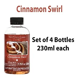 Bulk Buy Super Value. Hosley\'s Premium Cinnamon Swirl Reed Diffusers Highly Scented Refill Oil, Box of 4 / 230 Ml Each - Made in USA