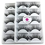 2Box/Lot 3D Real Mink False Eyelashes LASGOOS 100% Siberian Mink Fur Luxurious Fluffy Messy Cross Long 10 Pairs Fake Eye Lashes A11 (Color: Black)