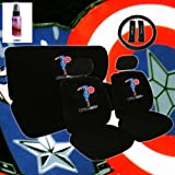 12 Piece Auto Interior Gift Set - 2 Captain America Design Front Universal Size Low Back Bucket Seat Covers (in 4 pieces), 2 Head Rest Covers, 1 Captain America Logo Rear Seat Cover (in 2 pieces), 1 Steering Wheel Cover, 2 Shoulder Harness Pressure Relief Cover and a 2 oz Purple Slice Car Wash Free Detailer/Multipurpose Cleaner