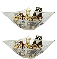 Jumbo Toy Hammock - 2 PACK - Organize stuffed animals or children's toys with this mesh hammock. Looks great with any décor while neatly organizing kid's toys and stuffed animals. Expands to 5.5 feet. by Handy Laundry