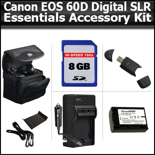 Essentials Accessory Kit For The Canon EOS 60D Digital SLR Camera Includes 8GB High Speed SD Memory card + USB 2.0 High Speed Card Reader + Extended Replacement LP-E6 (2200 mAH) Battery (with Info-Chip!) + Ac/Dc Rapid Travel Charger + Deluxe Case + More
