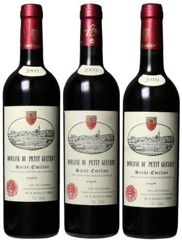 Domaine Du Petit Gueyrot Bordeaux Red Blend Saint Emilion 2005-2009-2010 Mixed Pack, 3 X 750 Ml