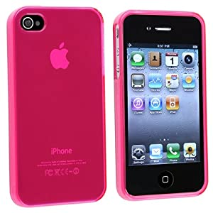 INSTEN Clear Frost TPU Rubber Skin Case Compatible with Apple iPhone 4S AT&T/Verizon/Sprint - Hot Pink