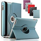 KEVENZ Apple iPad Cases and Covers for iPad 2 / iPad 3 / iPad 4 Case Cover leather 360 Rotating Stand- Blue - K401