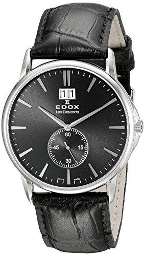 Edox Edox Les bèmonts-Reloj unisex Big Fecha Esfera Analógica Pantalla y piel de oro 3NIN 64012