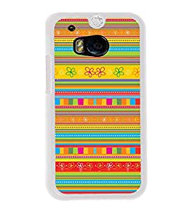 Colourful Pattern 2D Hard Polycarbonate Designer Back Case Cover for HTC One M8 :: HTC M8 :: HTC One M8 Eye :: HTC One M8 Dual Sim :: HTC One M8s