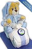 Windeltorte Windelmotorrad blau für Jungen - mit Teddybär