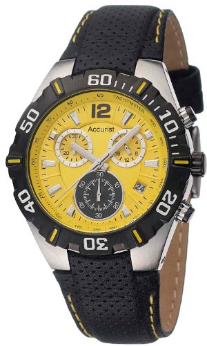 accurist-mens-quartz-watch-with-yellow-dial-chronograph-display-and-black-leather-strap-ms832y