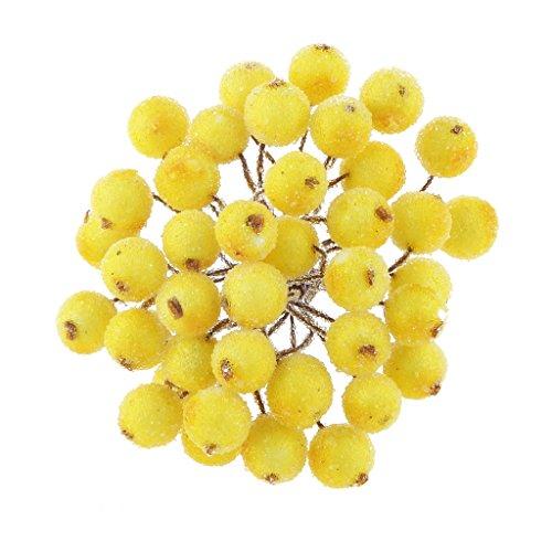 200pz Mini Natale Frutta Smerigliato Bacca Fiore Agrifoglio Artificiale Decorazioni Albero Casa - Giallo