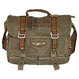 "Military Retro Bike Vintage Canvas Messenger Bag - Medium Size 13.5"""