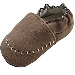 JuDanzy Infant Boys Infant Synthetic Leather Slip On Shoes (0-3 Months, Brown Moccasins)