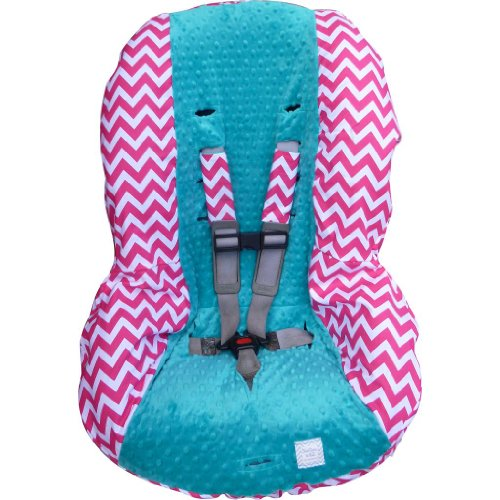 Hot Pink Chevron With Teal Toddler Car Seat Cover