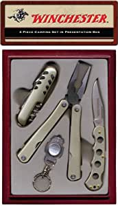 Winchester 22-41283 Camping Set. This four piece set is every campers dream. Knife with cork screw, Multi tool, Folding knife and keychain light.