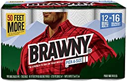 Brawny Paper Towels, Pick-A-Size, Big Roll, White - 12 Pack