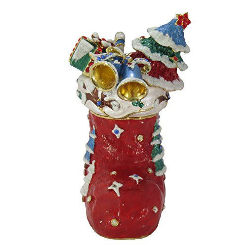 Red Christmas Stocking with Swarovski Crystals Trinket Box